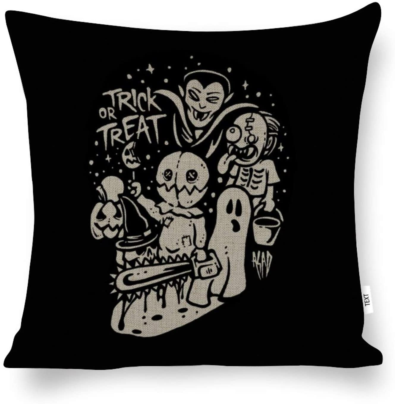 AILOVYO Decorative Cotton and Hemp Throw Pillow Covers Family Halloween Ghost Trick Or Treat for Room Bedroom Room Sofa Chair Car