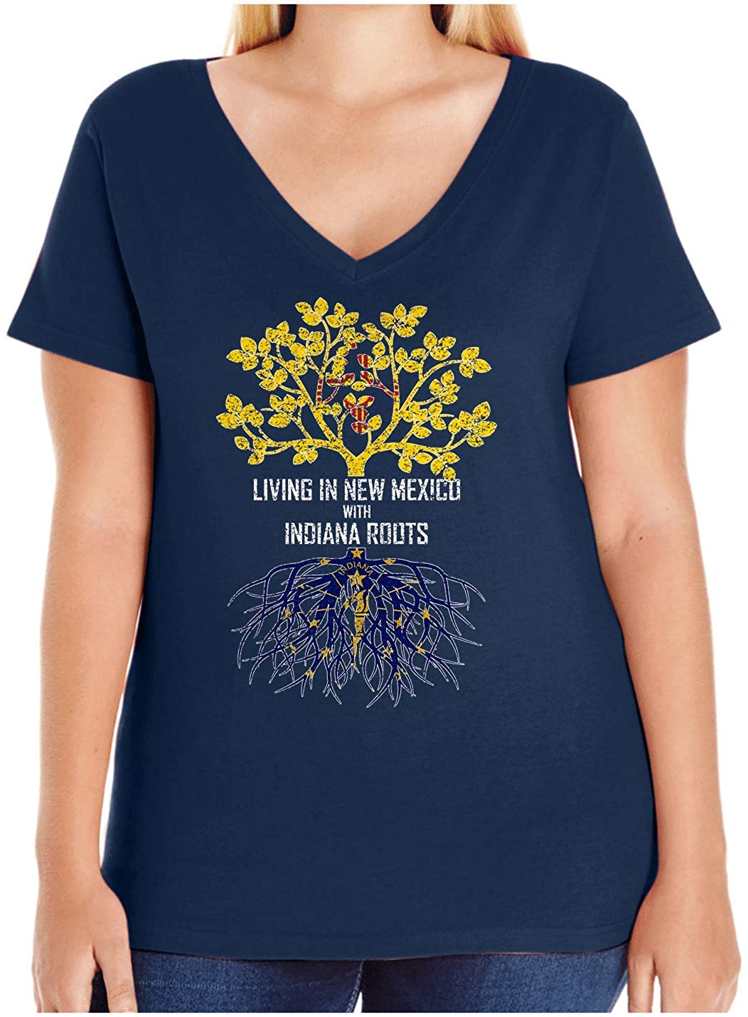 HARD EDGE DESIGN Women's Living in New Mexico with Indiana Roots Plus Size V Neck T-Shirt, Size 4, Navy