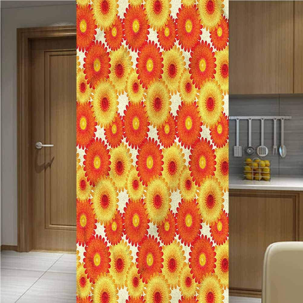 LCGGDB Orange ONE Piece 3D Printed Window Film Privacy Glass Film,a Petals Graphic Non Adhesive Frosted Home Office Film Privacy Window Sticker,47.2