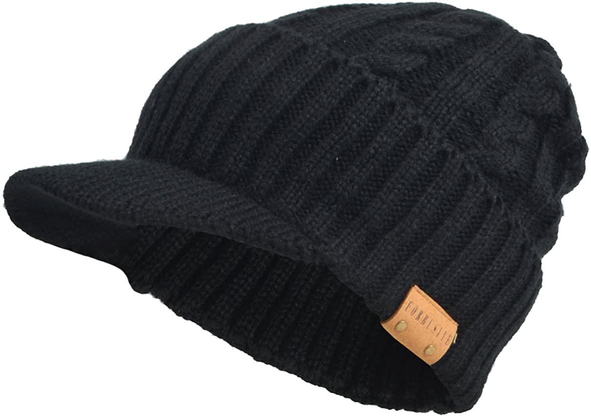 Mens Knit Beanie Visor Skullcap Cadet Newsboy Cap Ski Winter Hat