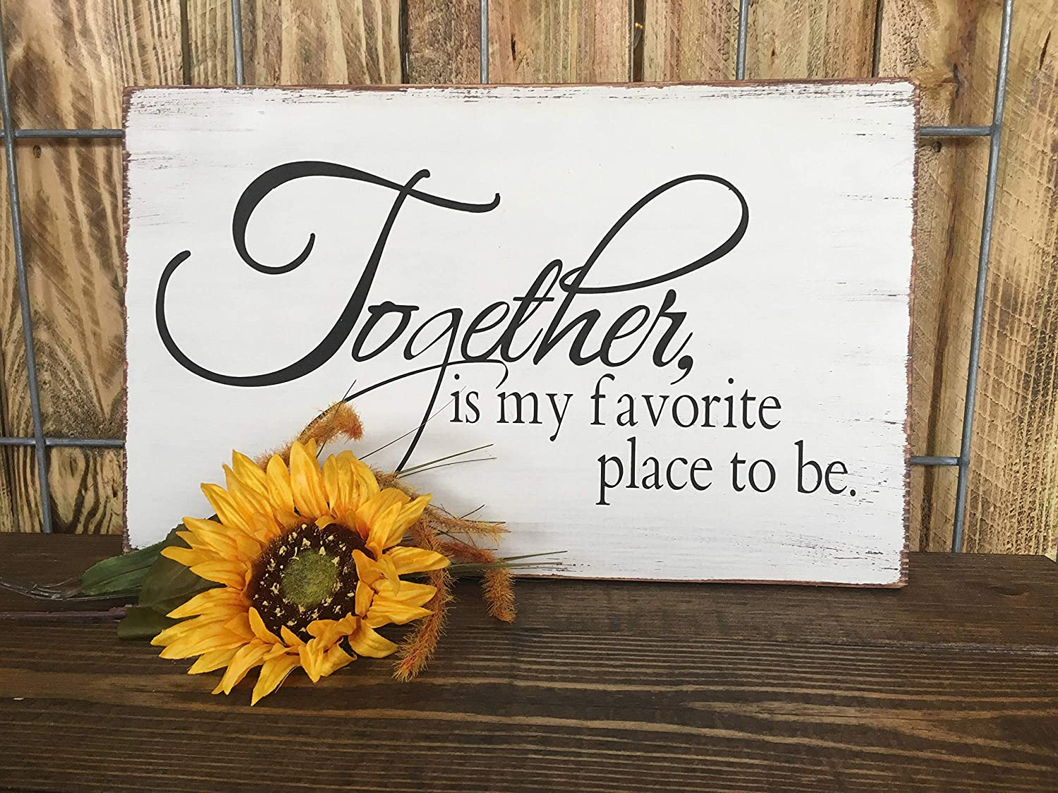 43LenaJon Together is My Favorite Place to be, Family Decor, Rustic, Farmhouse, Custom Wood Sign, Wall Art, Home Decor, Gallery Wall