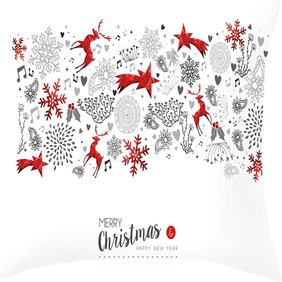 MoonHome Christmas Throw Pillow Covers - 1-Pack Colorful Decorative Couch Throw Pillow Cases, Christmas Santa Claus, Garland, elk Design, Festive Home Decor Cushion Covers, Fits 18 x 18 Pillows