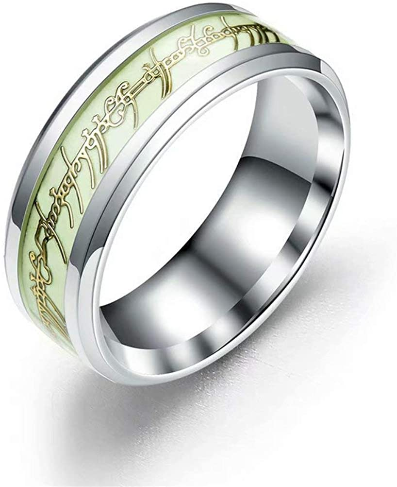 hohrayway Luminous Lord of The Rings Glow in The Dark Fluorescent Ring for Women Men Wedding Anniversary Rings Titanium Stainless Steel 8mm