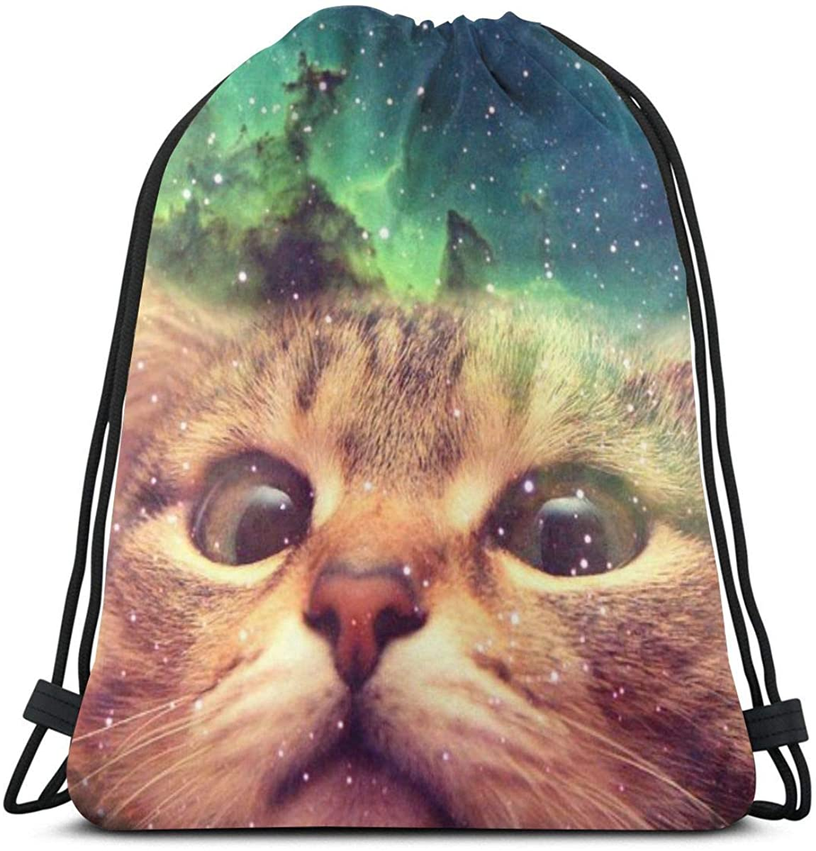 Drawstring Bags Cat Space Galaxy Backpack Pull String Bags Bulk Sports Storage Gym For Children Large Baseball Rucksack