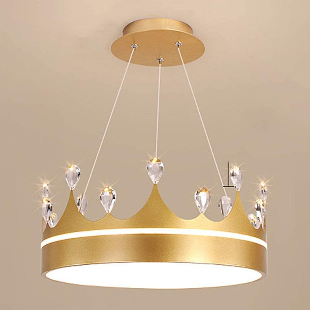 WEM Creative Crown Hanging Lamp Crystal Led Chandelier Remote Control Dimmable Adjustable Golden Pendant Light Childrens Room Hanging Lights Girl Princess Room Ø40Cm Modern Bedroom Pendant Lamp