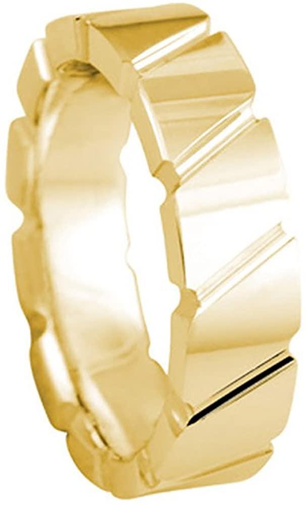 American Set Co. Men's 18K YELLOW GOLD BOX CUT DIAGONAL GROOVE 6mm COMFORT FIT WEDDING BAND