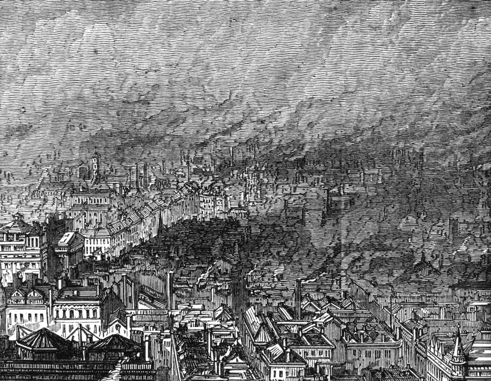 England Manchester 1876 Na View Of Manchester England And The Continual Pall Of Mill Smoke Over The City Detail Of A Wood Engraving 1876 Poster Print by (24 x 36)