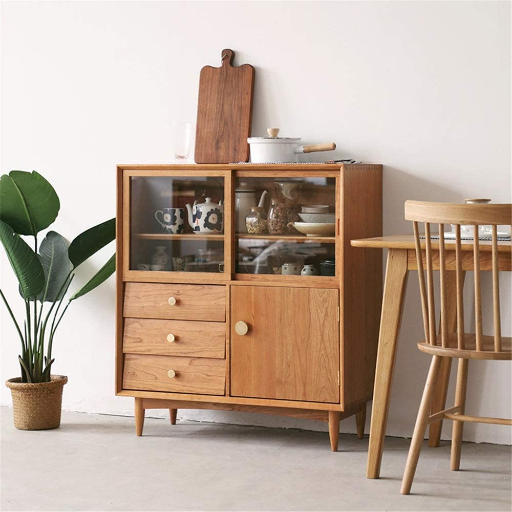 QERNTPEY Sideboard Cabinet Kitchen Storage Cabinet Buffet Entryway Cabinet Storage Sideboard Wooden Kitchen Dining Room Storage Cupboard Easy Installation (Color : Natural, Size : 90x100x40cm)