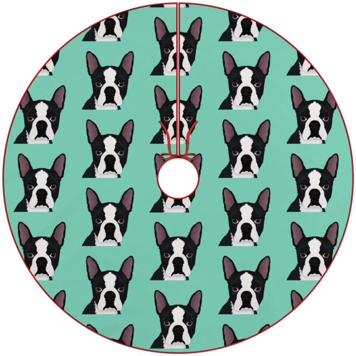 JHSLAJ Boston Terrier Cartoon Brushed Christmas Tree Skirt Xmas New Year Holiday Decorations Indoor Outdoor for Holiday Party