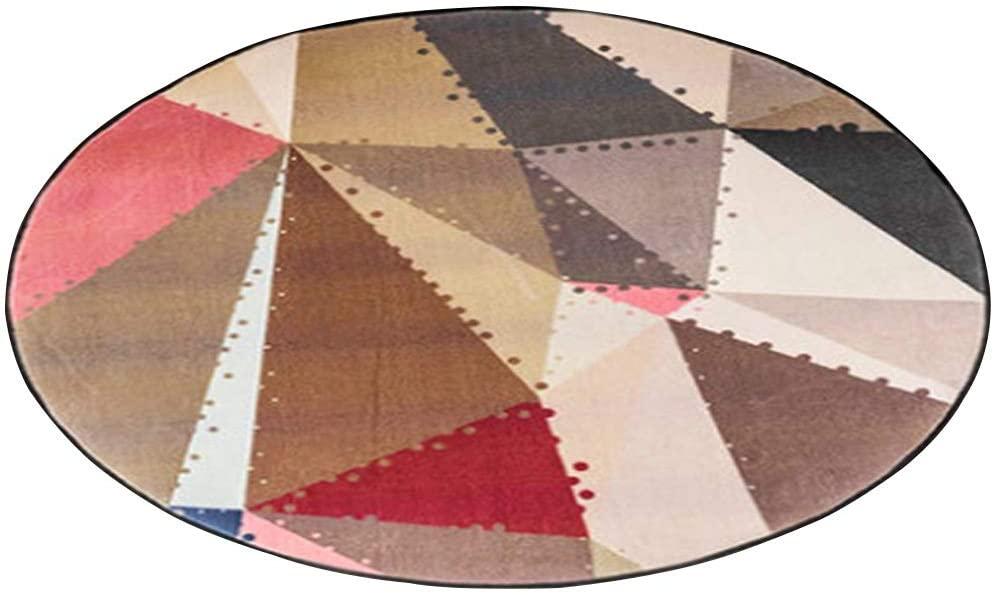 YUXO Round Area Rugs Round Carpet Anti-Slip Carpet Geometric Pattern Suitable for Bedroom Living Room Sofa Balcony Chair Computer Swivel Chair Coffee Table Carpet, 4 Colors, 5 Sizes for Living Room