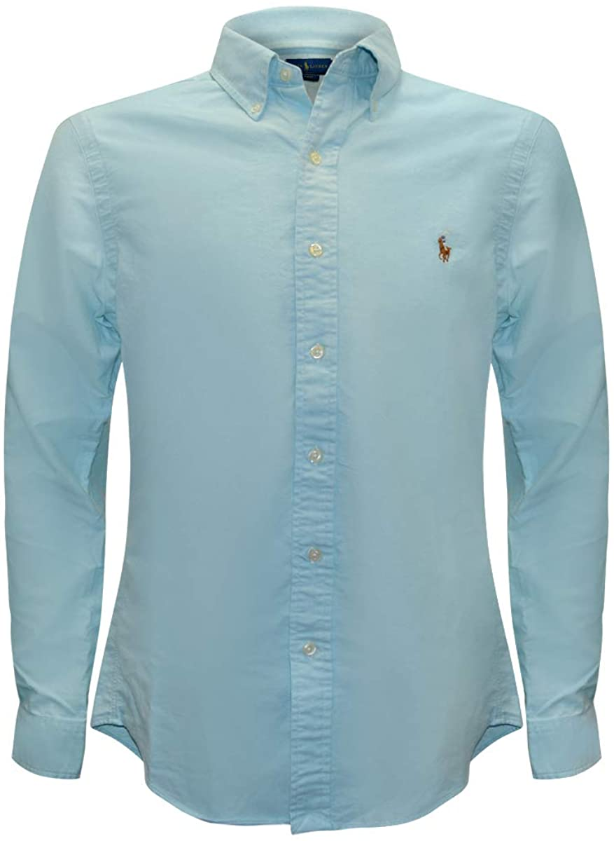 Polo Ralph Lauren Men's Solid Slim Fit Poplin Sport Shirt (Blue/Brown Pony, X-Large)