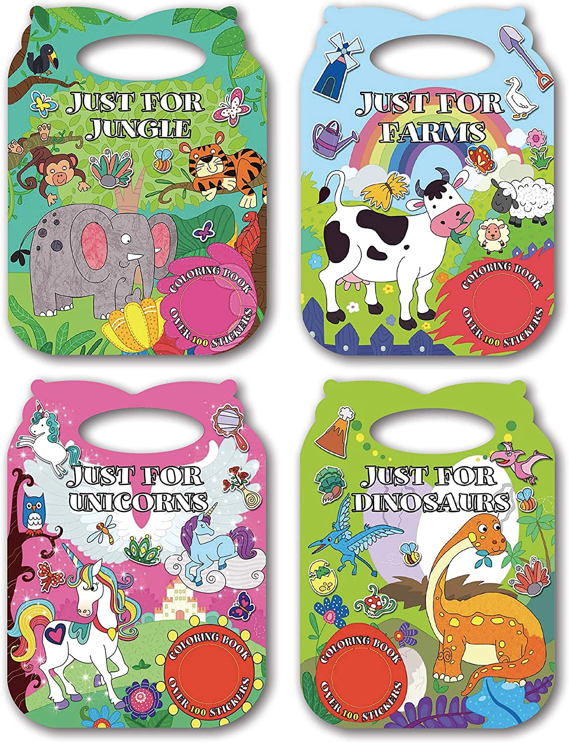 B-THERE 4-Pack Carry Along Die-Cut Sticker Coloring Books for Kids 4-12