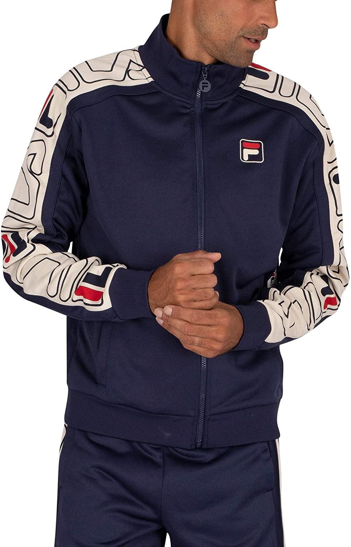 Fila Men's Gatlin Stripe Track Jacket, Blue, M