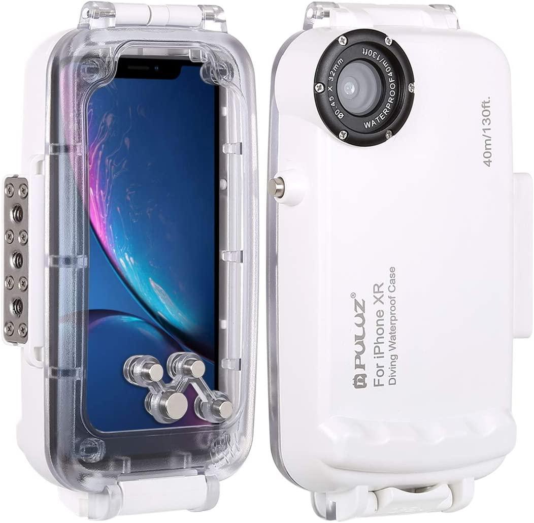 PULUZ 40m / 130ft Smartphone Waterproof Case for iPhone XR Deep Sea Diving Case Support Shockproof Snowproof Dirtproof Heavy Duty IP68 Underwater Housing (White for iPhone XR)