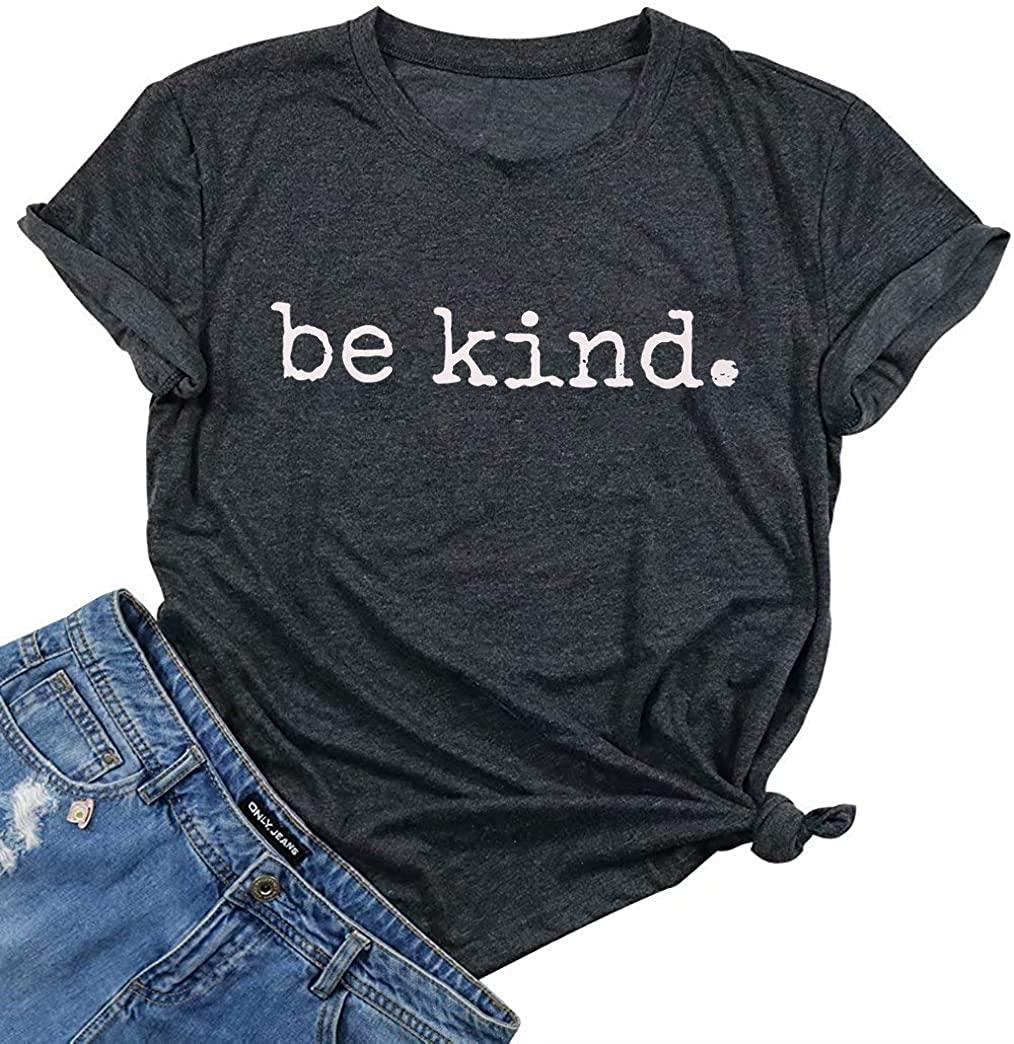 Be Kind Shirt Women's Summer Letter Print Short Sleeve Inspirational Teacher Graphic Tees Tops Blouse