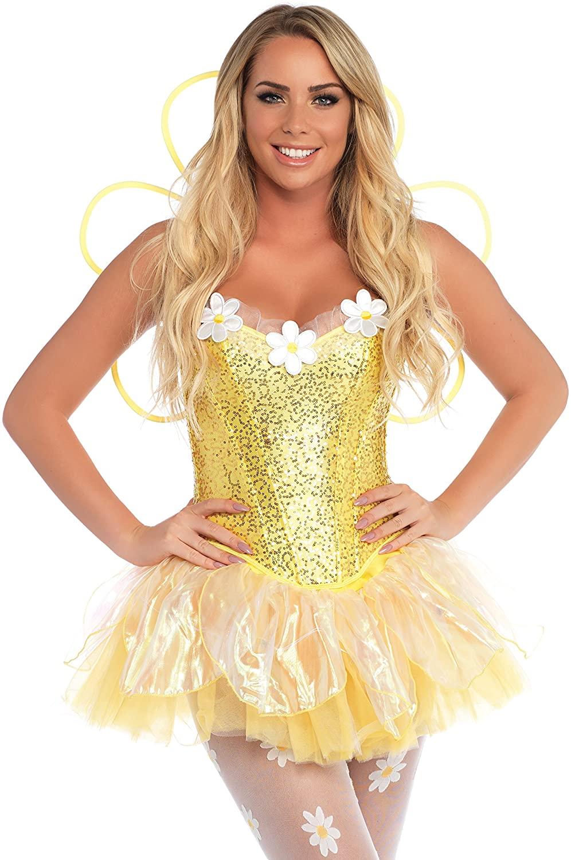 Leg Avenue Costumes 4Pc.Daisy Doll Includes Corset Tutu Wings Headpiece with Led