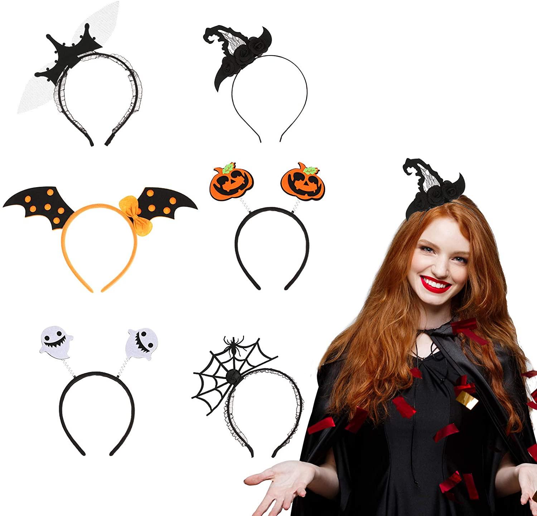 Morfong 6 Pieces Halloween Hair Hoop Pumpkin Ghost Pattern Assorted Halloween Headband
