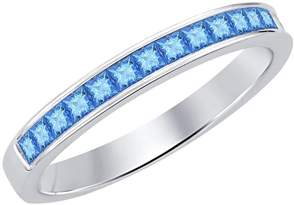 RUDRAFASHION 1.10ctw Princess Cut 14k White Gold Plated Gemstone Half Eternity Wedding Band Ring for Men's.