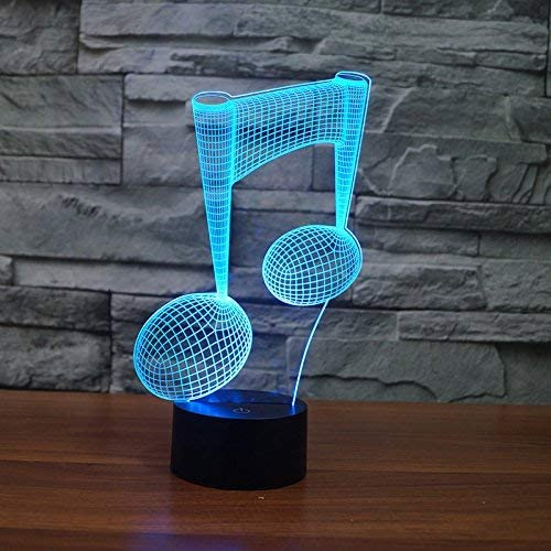 YKL World Music Note Night Light 3D Illusion Lamp LED Desk Table Lamp 7 Color Changing Touch Sensor Nightlight with USB Cable for Bedroom Kids Birthday Gifts Music Lovers Decoration