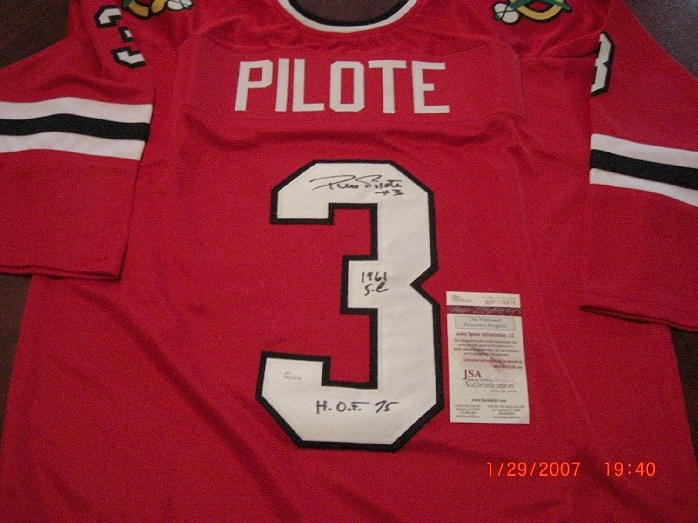 Pierre Pilote Chicago Blackhawks Hof 75,1961 Sc Champs Jsa/coa Signed Jersey - Autographed NHL Jerseys