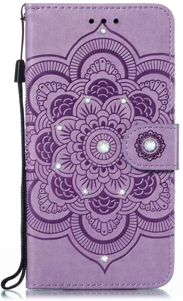 Abtory Huawei Enjoy 10E Wallet Case, 3D Bling Flower Printed Magnetic Case PU Leather Full Body Protective Case with Credit Card Holders, Wrist Strap for Huawei Enjoy 10E Light Purple