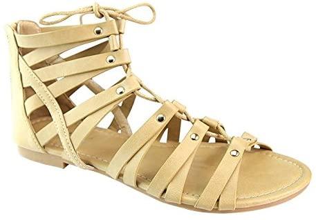 ANNA BRINA-10 Women's Studded Strappy Lace Up Back Zipper Gladiator Flat Sandals