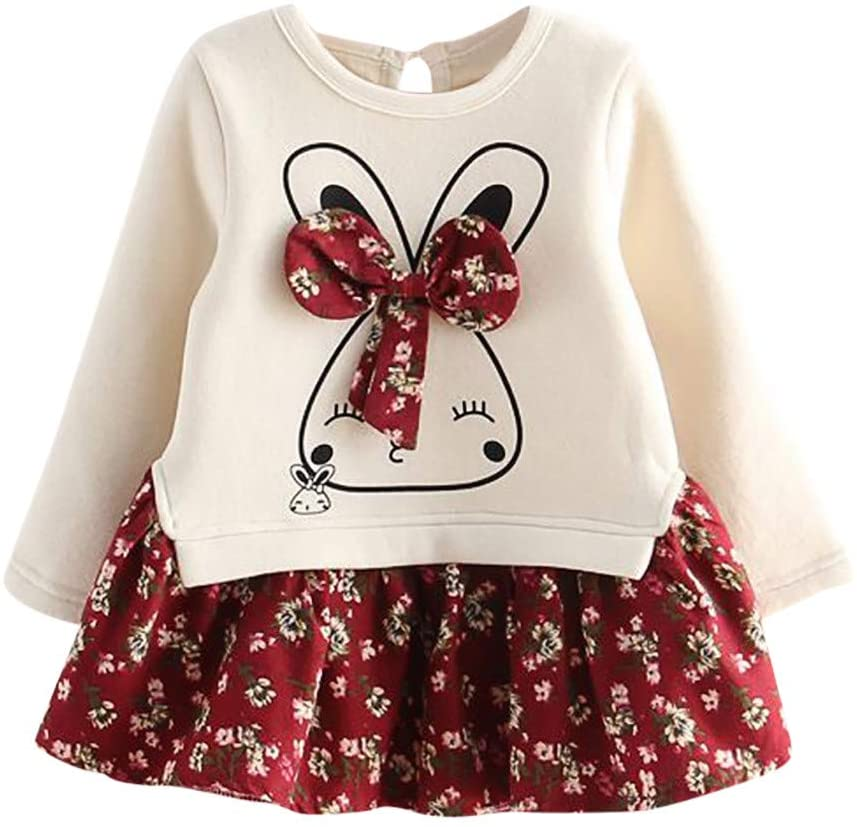 Fineday Girls Outfits&Set, Toddler Kids Baby Girl Cartoon Rabbit Bunny Floral Princess Party Dress Clothes, Clothes for Boys and Girls