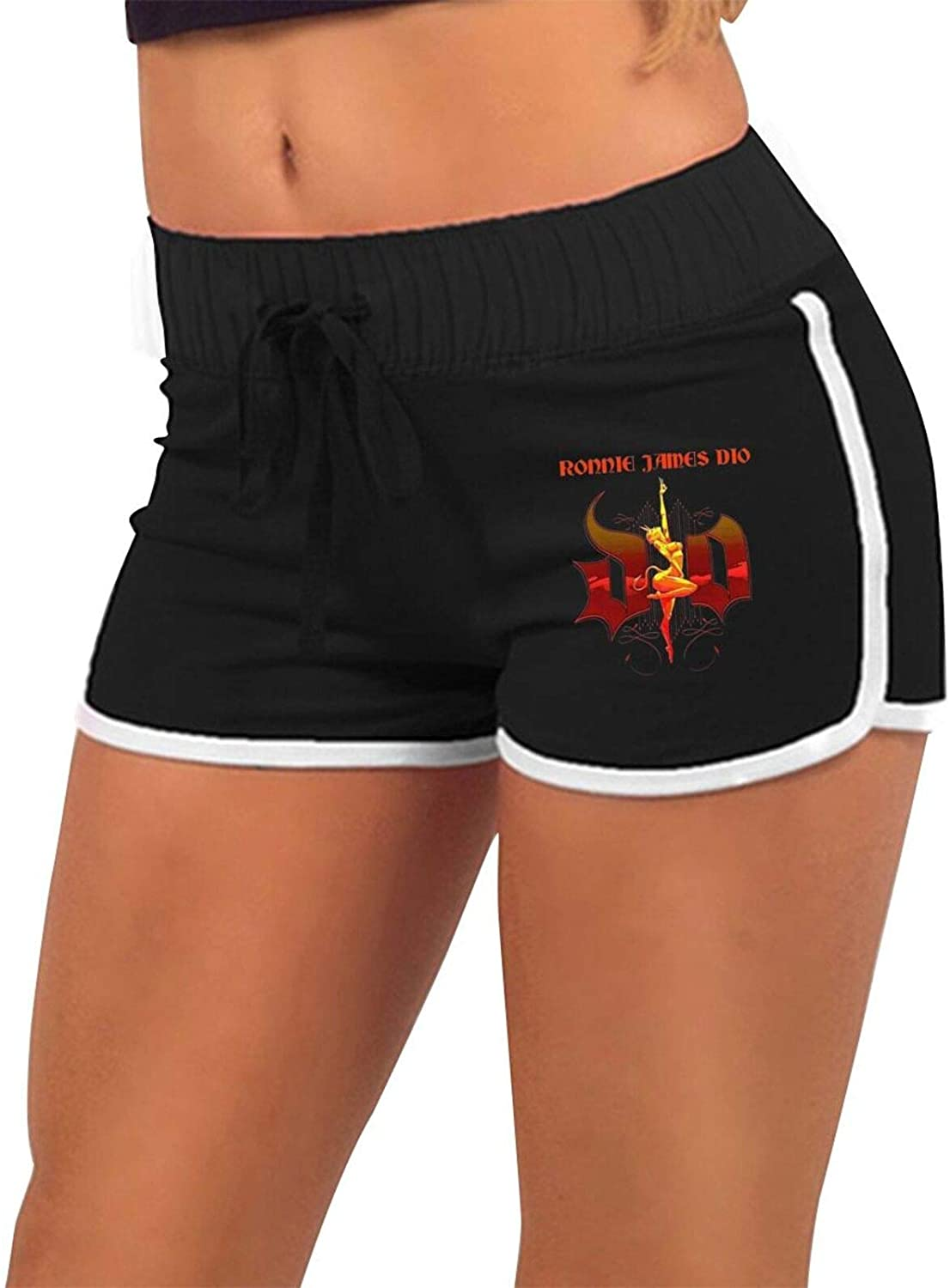 Ronnie James Dio Women's Workout Yoga Low Waist Hot Pants- Cheerleader Dance Volleyball Short Pants Black