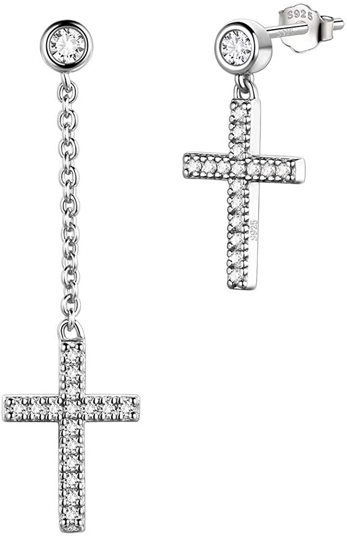 Small Cross Earrings Women Men 925 Sterling Silver Crystal Cubuc Zirconia Tiny Crosss Earrings Fashion Mens Jewelry