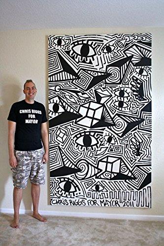 CHRIS RIGGS Original abstract fine art painting 96 x 57 pop street art black and white minimalist NYC acrylic contemporary modern art urban cubism universe canvas