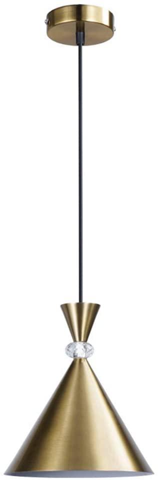 WEM Creative Golden Iron Pendant Light Modern Height Adjustable Bedside Lamp Simple Geometrical Pendant Lamp Dining Room Bedroom Living Room Study Hanging Light Ø21Cm×H25Cm (Lampshade) E27×1
