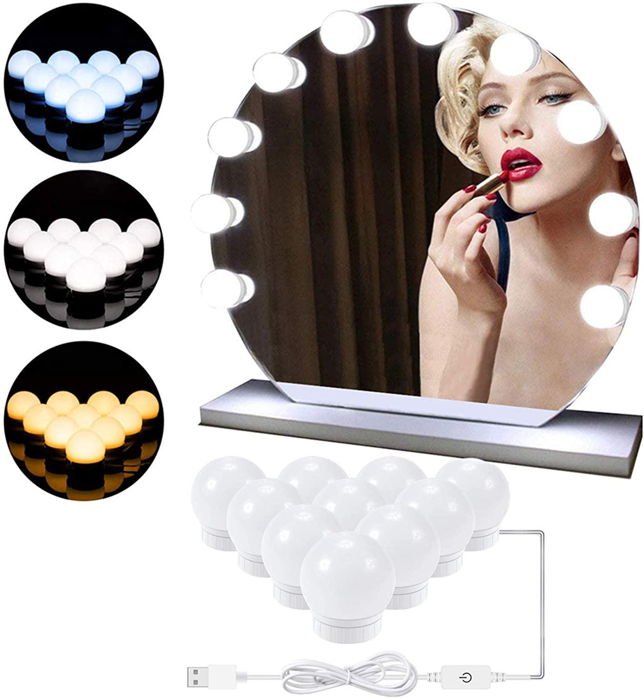 LED Vanity Lights for Mirror- DIY Hollywood Style Lighted Makeup Vanity Mirror Dimmable Lights Bulbs, USB Lighting Fixture Lights for Bathroom Wall Mirror, Makeup Vanity Table, Dressing Room(10-Bulb)