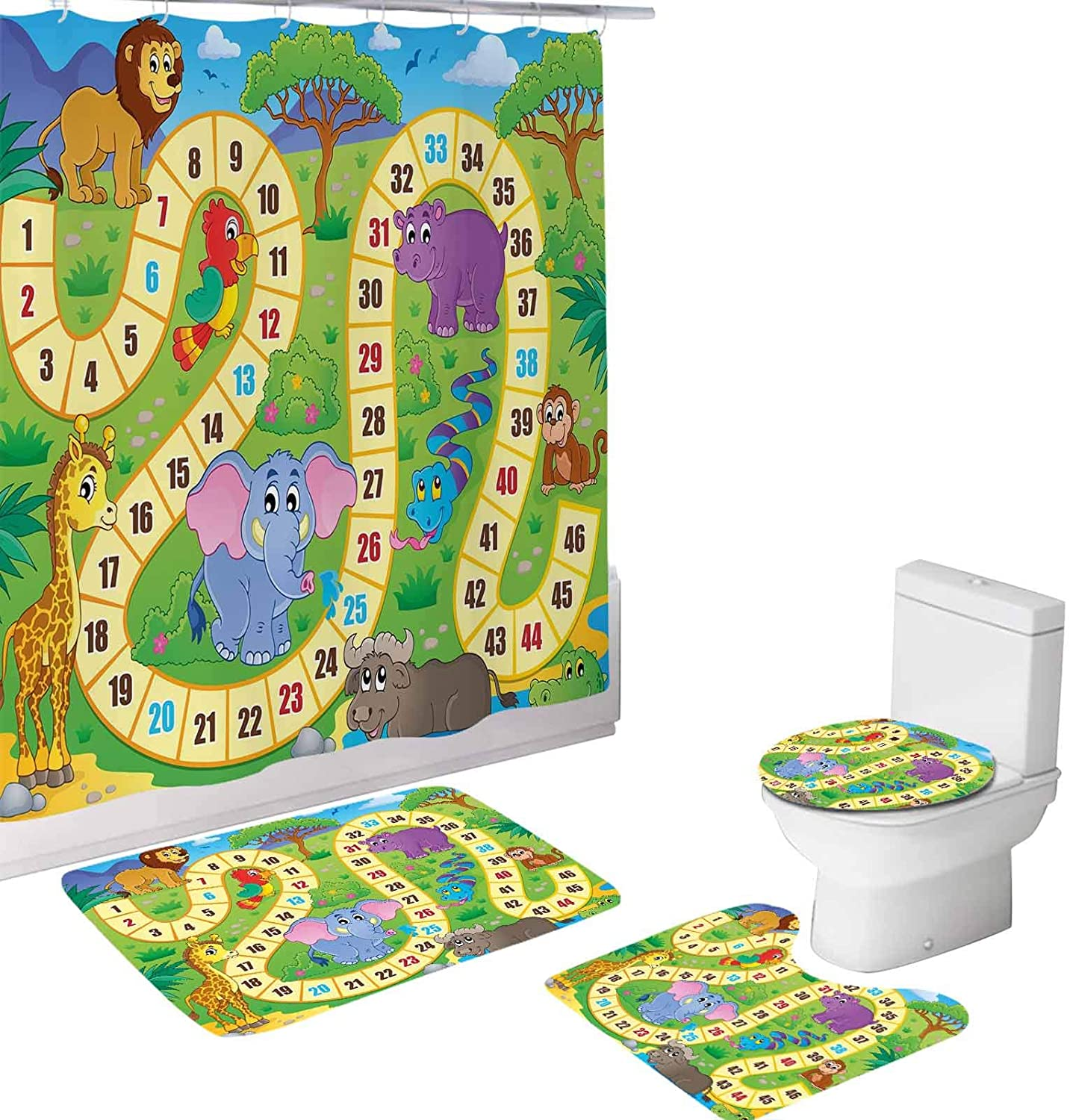 Board 4 Piece Bathroom Set,African Safari Concept Wildlife Hippo Giraffe,72