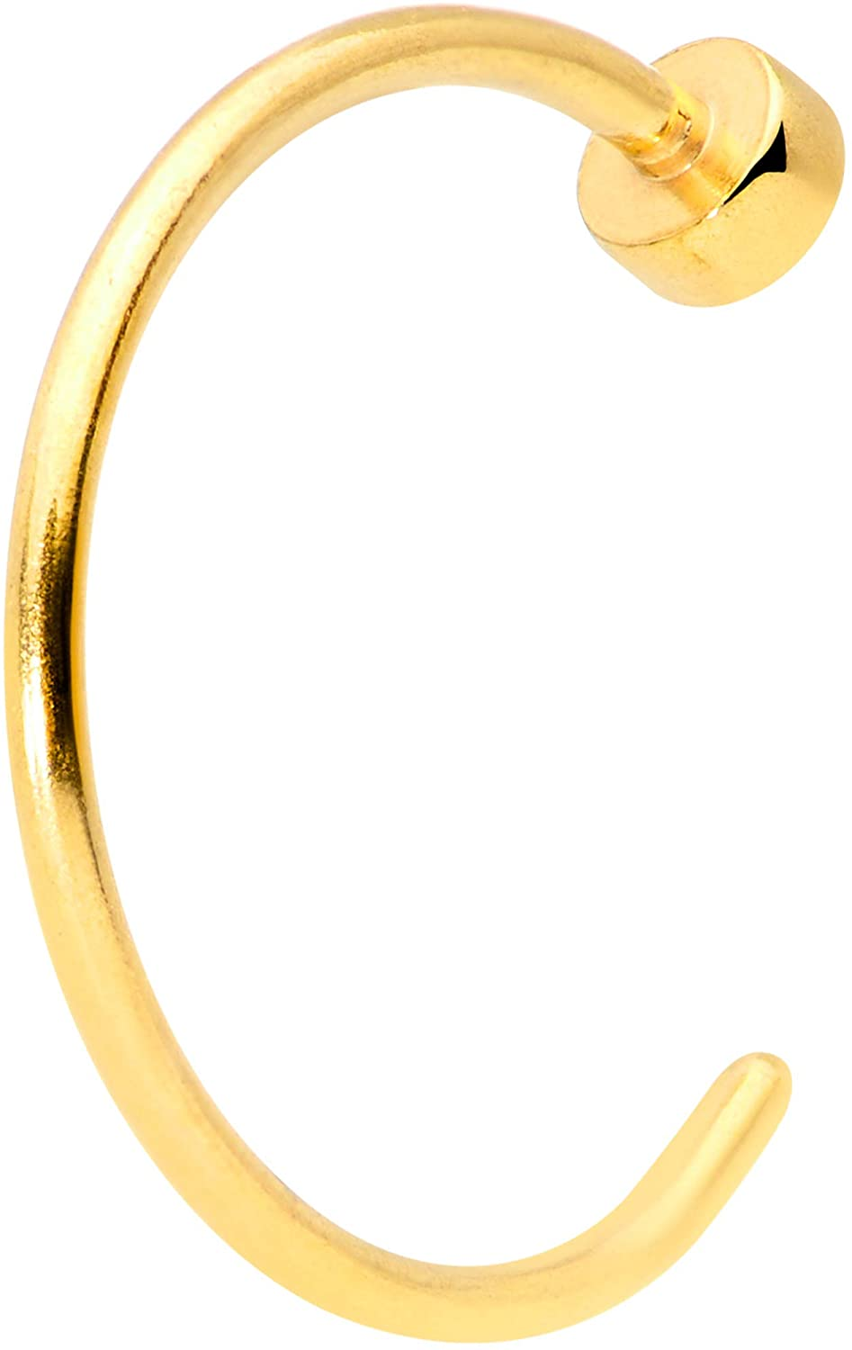 """Body Candy Womens 22G PVD Steel Minimalist Disc Nose Ring 8mm Nose Hoop Ring Circular Nose Ring 5/16"""""""