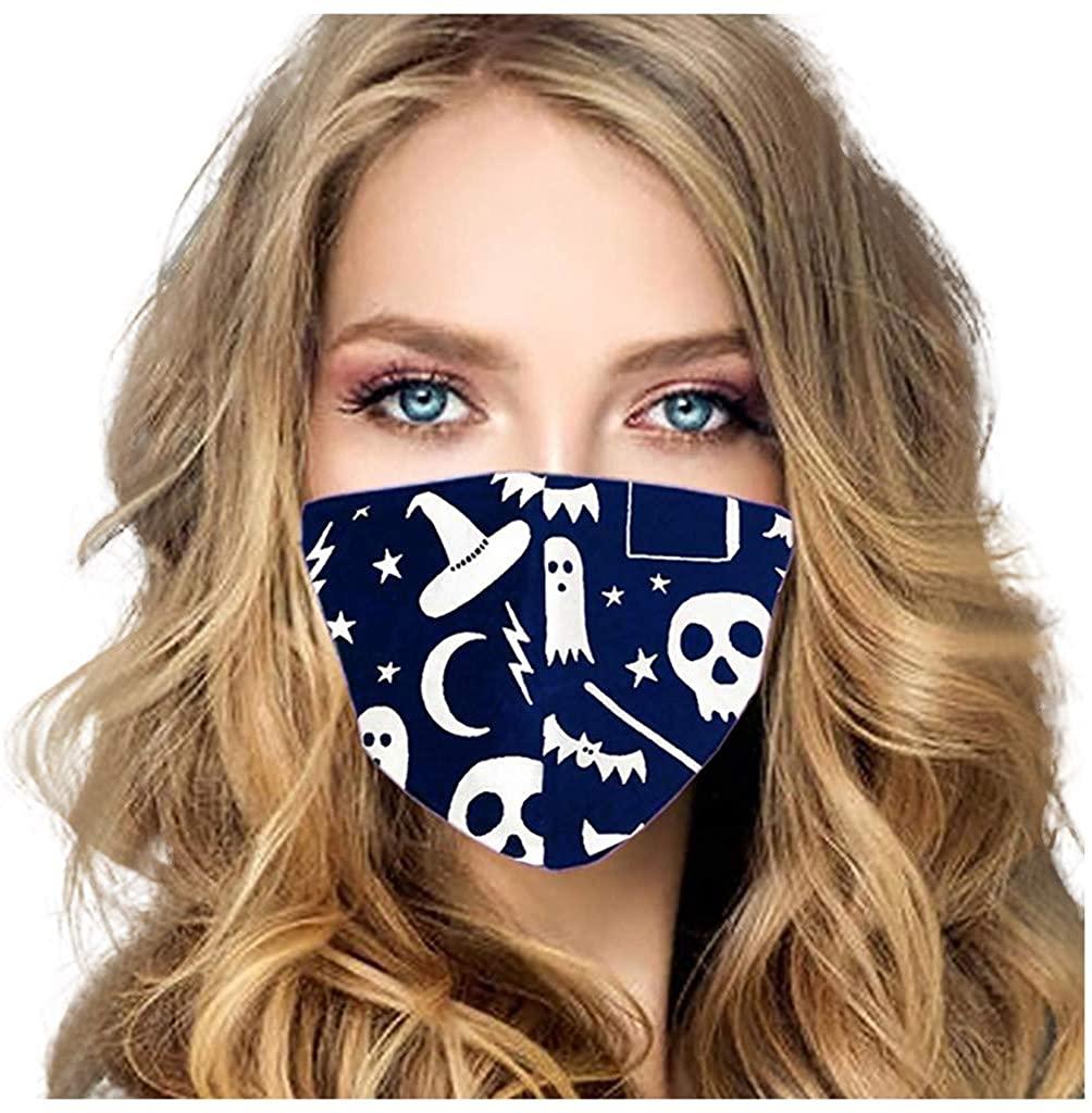 Stoota Women Holloween Face Mask Washable Reusable, Sun UV Protection Adjustable Neck Gaiter, Windproof Outdoor Workout