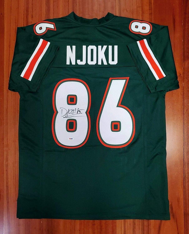 David Njoku Autographed Signed Jersey Miami Hurricanes PSA DNA - Autographed College Jerseys