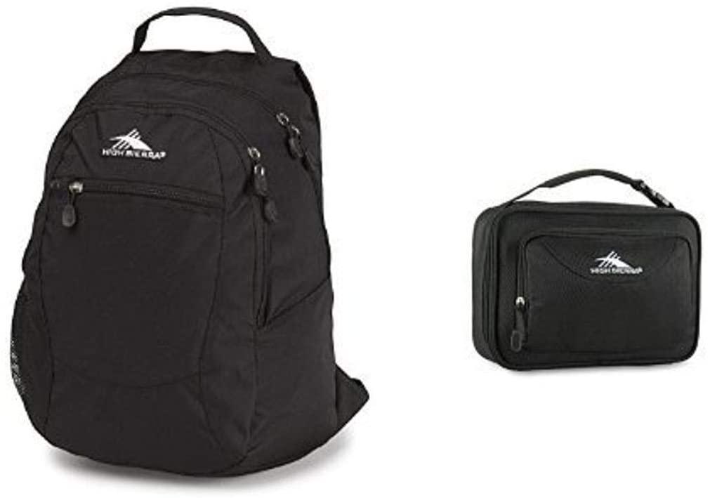 High Sierra Curve Backpack, Black and High Sierra Single Compartment Lunch Bag, Black