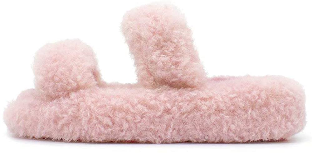 UltraCozy Women's Fluffy House Slippers Open Toe Style, Comfy Fur Sandals with Non-Slip Sole, Memory Foam Fuzzy Slides Sandal for Outdoor (2020 Fluffy Fun Collection)