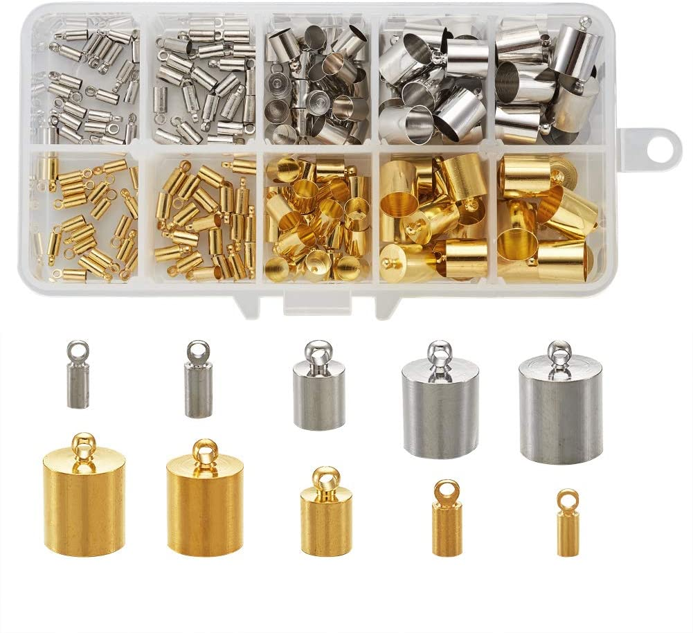 Pandahall 170pcs Brass Tube Cord End Platinum & Golden End Caps Terminators for Tassel Bracelet Jewelry Making