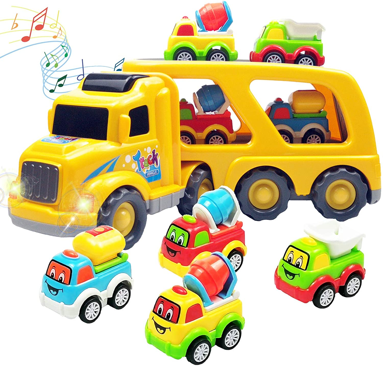 Faeny 5 in 1 Engineering Vehicle Set Contain 4 Construction Truck and 1 Large Carrier Truck with Sound and Light, Friction Power Toy Car for Kids, Boys & Girls Aged 3+ (Cartoon Construction)
