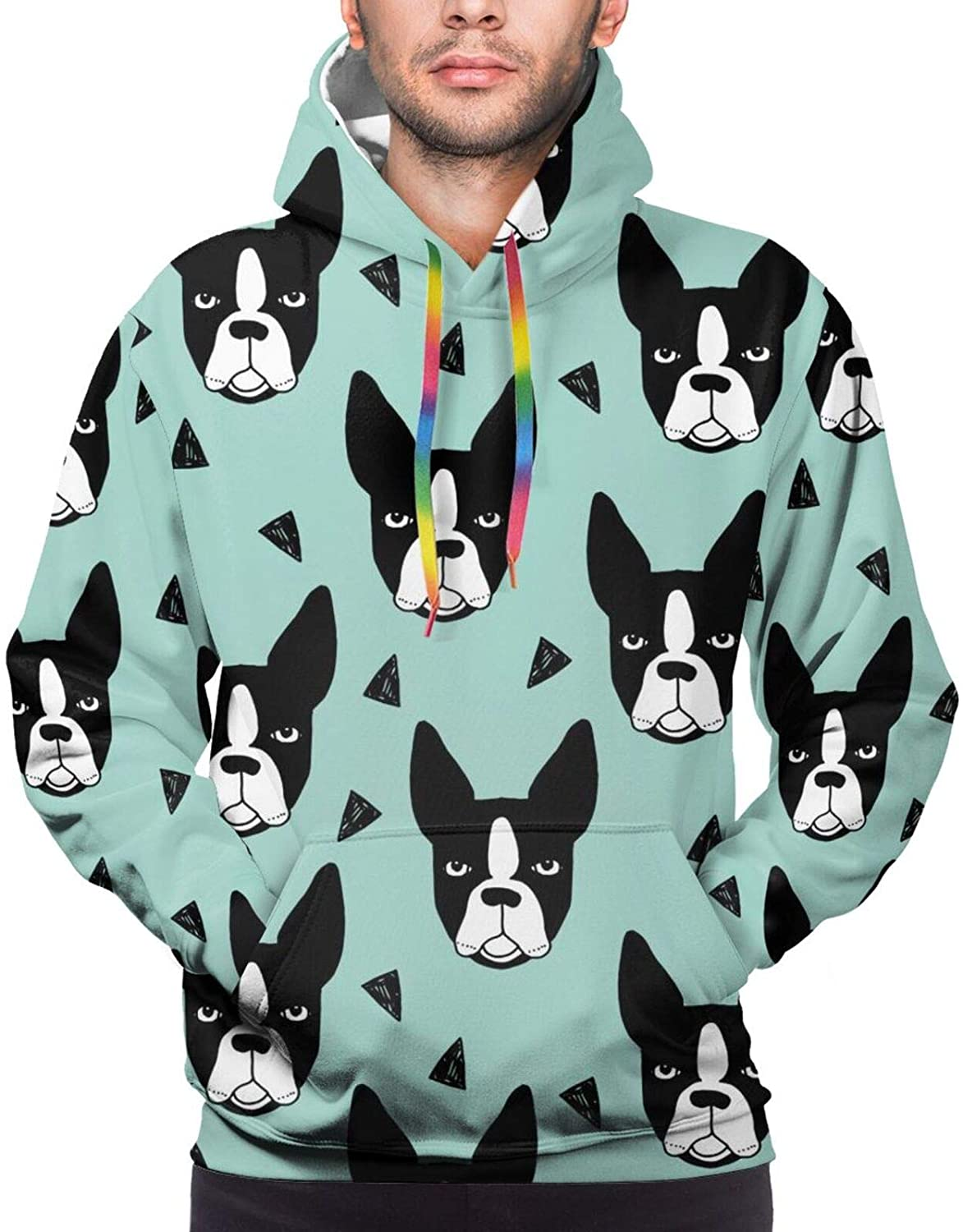 LRHUI Boston Terrier French Bulldog Men's Full Print Graphic Hoodie Pullover with Pocket