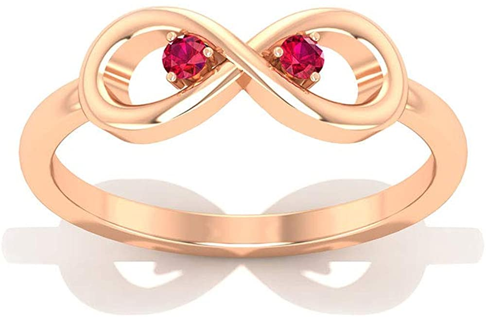 SGL Certified Red Ruby Glass Filled Infinity Anniversary Ring, July Birthstone Bridal Wedding Forever Love Ring, Vintage Knot Gemstone Anniversary Promise Ring Set, 10K Gold