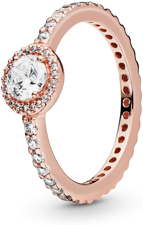 Pandora Jewelry Classic Sparkle Halo Cubic Zirconia Ring in Pandora Rose, Size 7.5