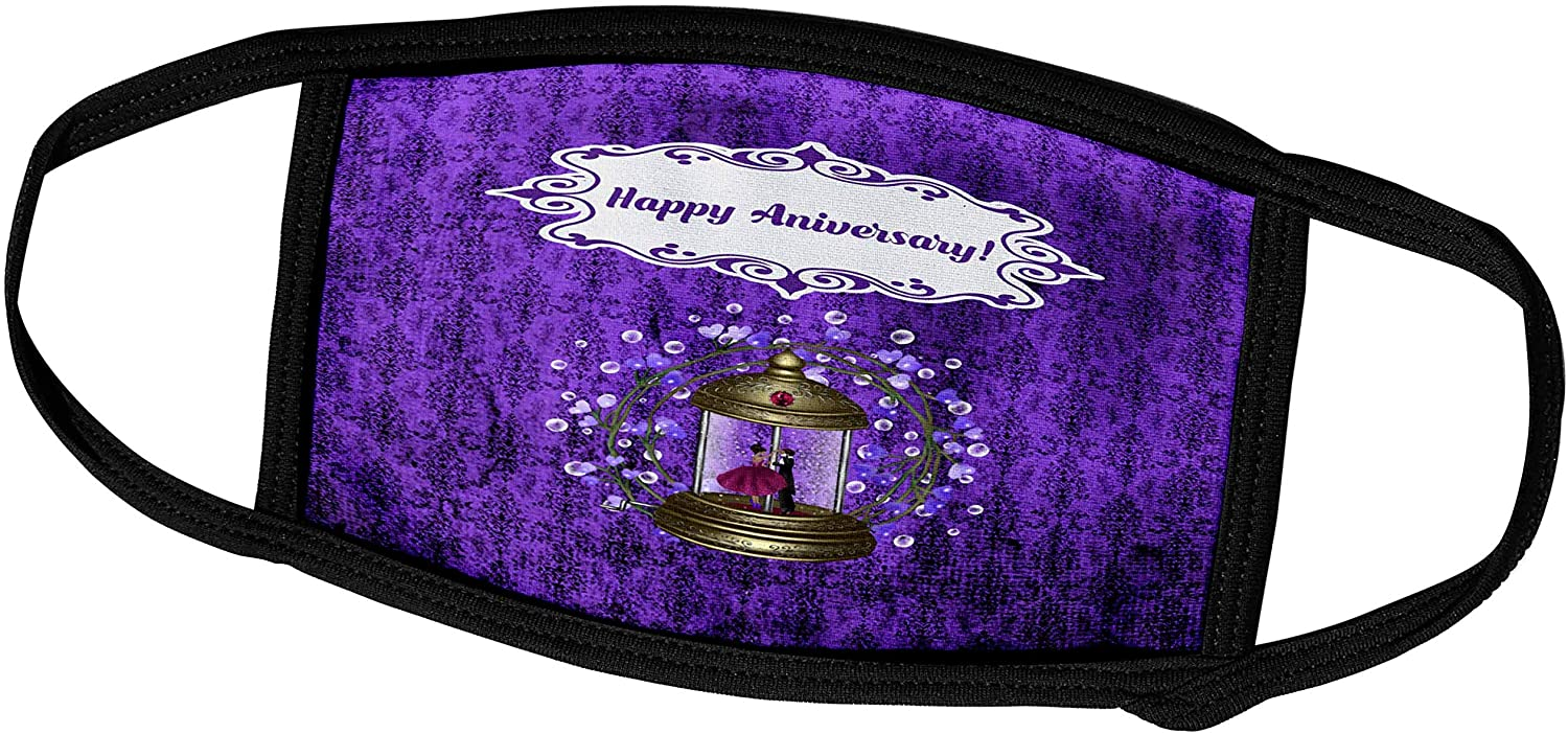 3dRose Anniversary, Music Box Couple Dancing, Bubble Heart Damask. - Face Covers (fc_313313_3)