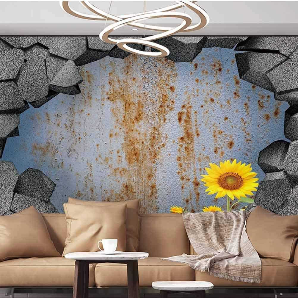 Wall Stickers Murals 3D trap Antique Old Planks American Style Western Rustic Wood sunflower flower grass Removable Large Sticker,135
