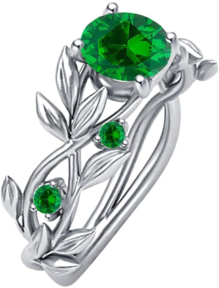 SVC-JEWELS 2ctw Green Emerald Leaves Wedding Band Ring 14k White Gold Plated for Womens.