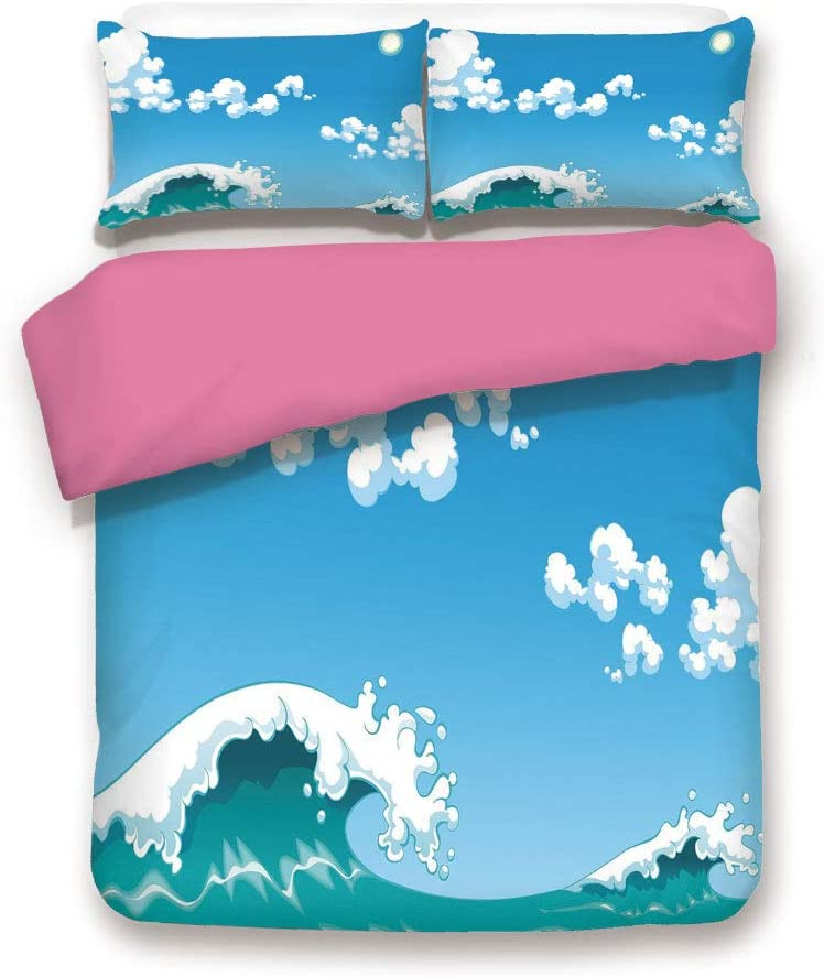 Queen Size Pink Back Duvet Cover Set,Blue Tones Wave Sea Image Open Sky Cute Little Clouds Happy Digital Art Decorative 3 Piece Bed Sets,1 Comforter Cover with 2 Pillow Shams,Blue Turquoise White