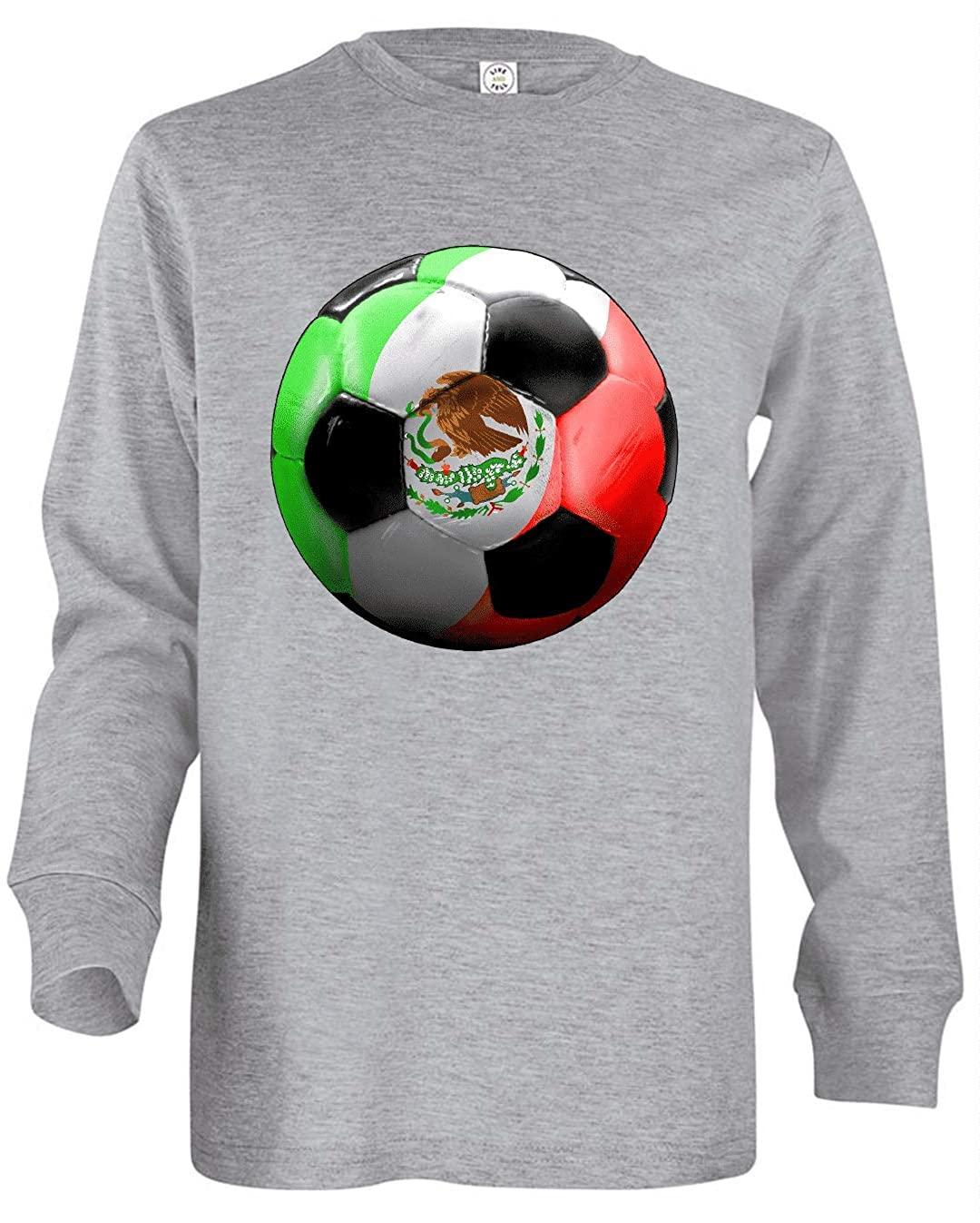 HARD EDGE DESIGN Girl's Youth Mexico Soccer Long Sleeve T-Shirt, Large, Heather Grey