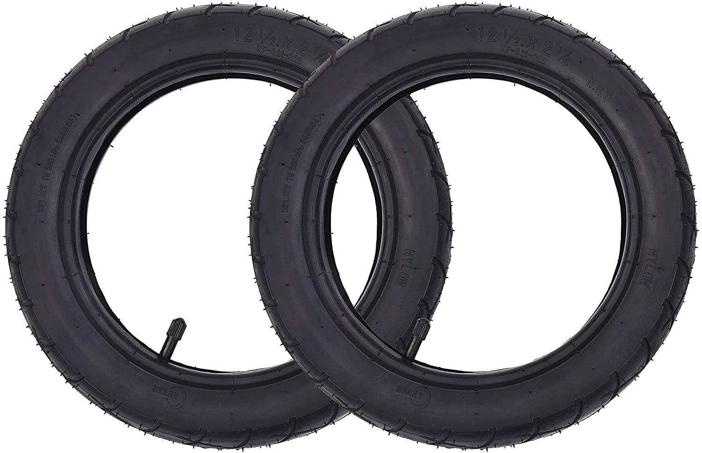 2 Sets Pack of 12 1/2 x 2 1/4 (12.5x2.25) Tyre Tire + Inner Tube with TR13 Straight Stem Replacement for Chrissy Hannah Razor Pocket Mod 24V Electric Scooter Isobutylene Isoprene Rubber