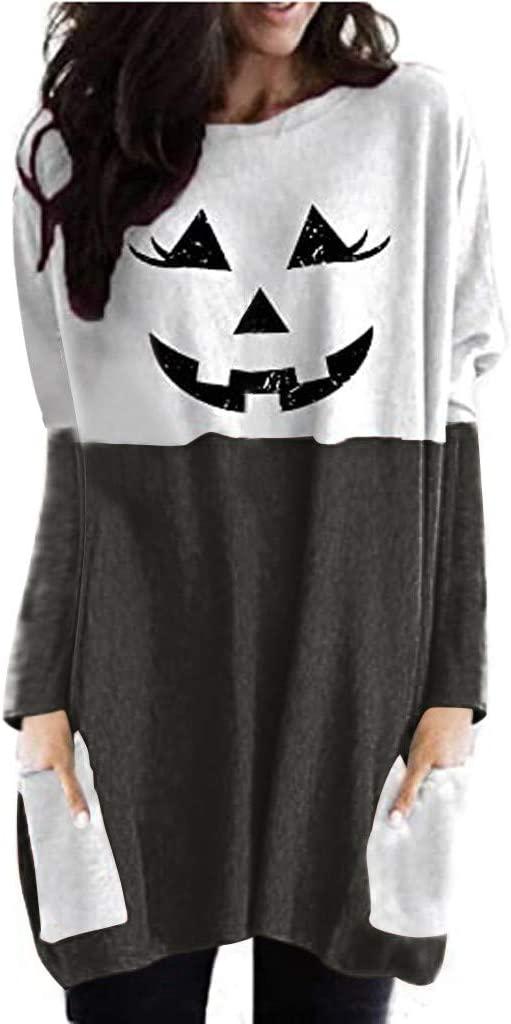 Celiy Women Blouses for Work Plus Size Halloween Lantern Ghost Pumpkin Shirt Face Costume Long Sleeves Tops
